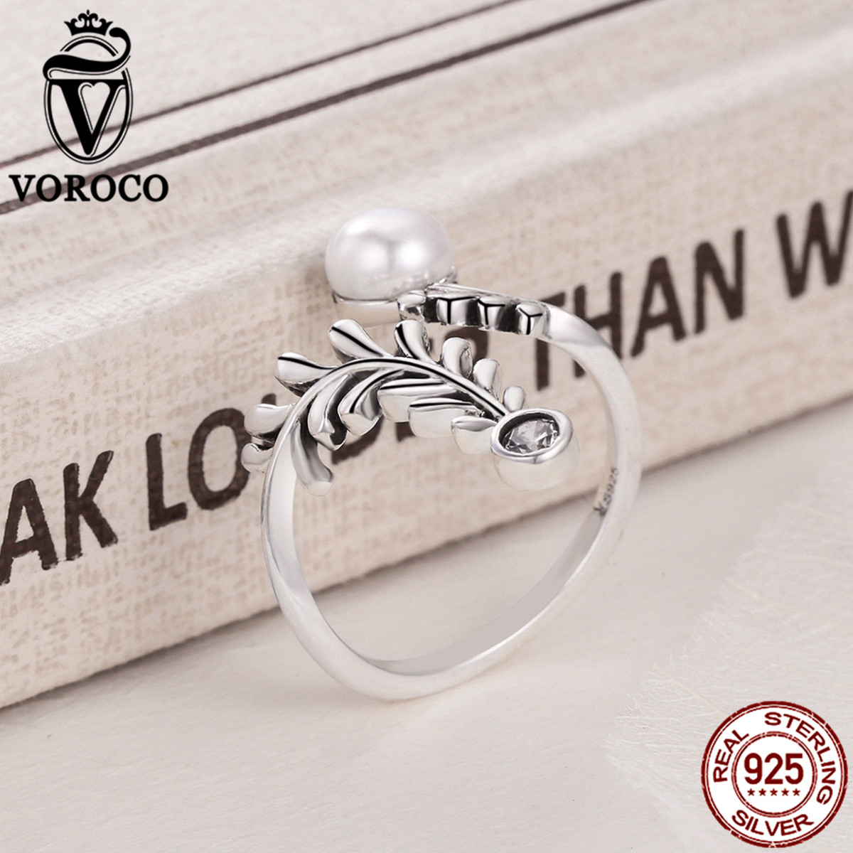 VOROCO Pure 100% 925 Sterling Silver Leaf Natural Freshwater Pearls Rings For Women Engagement Wedding Fine Jewelry VSR092