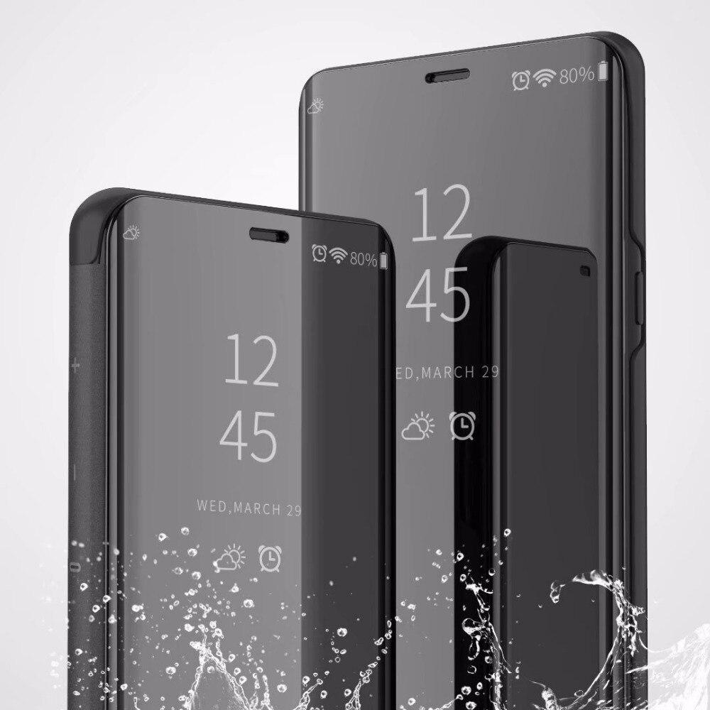 Per Samsung Galaxy Note 9 A6 A8 J4 J6 J8 2018 S7 S6 bordo S8 S9 Più J3 J5 J7 2017 A9Star di Vibrazione Del Basamento Trasparente Smart View Cassa Dello Specchio