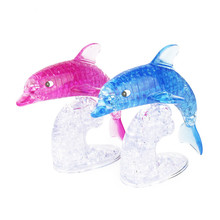 Torvi Cube T ceative pink and blue dolphins 3D three-dimensional 95PCS crystal puzzle DIY installed Educational toys