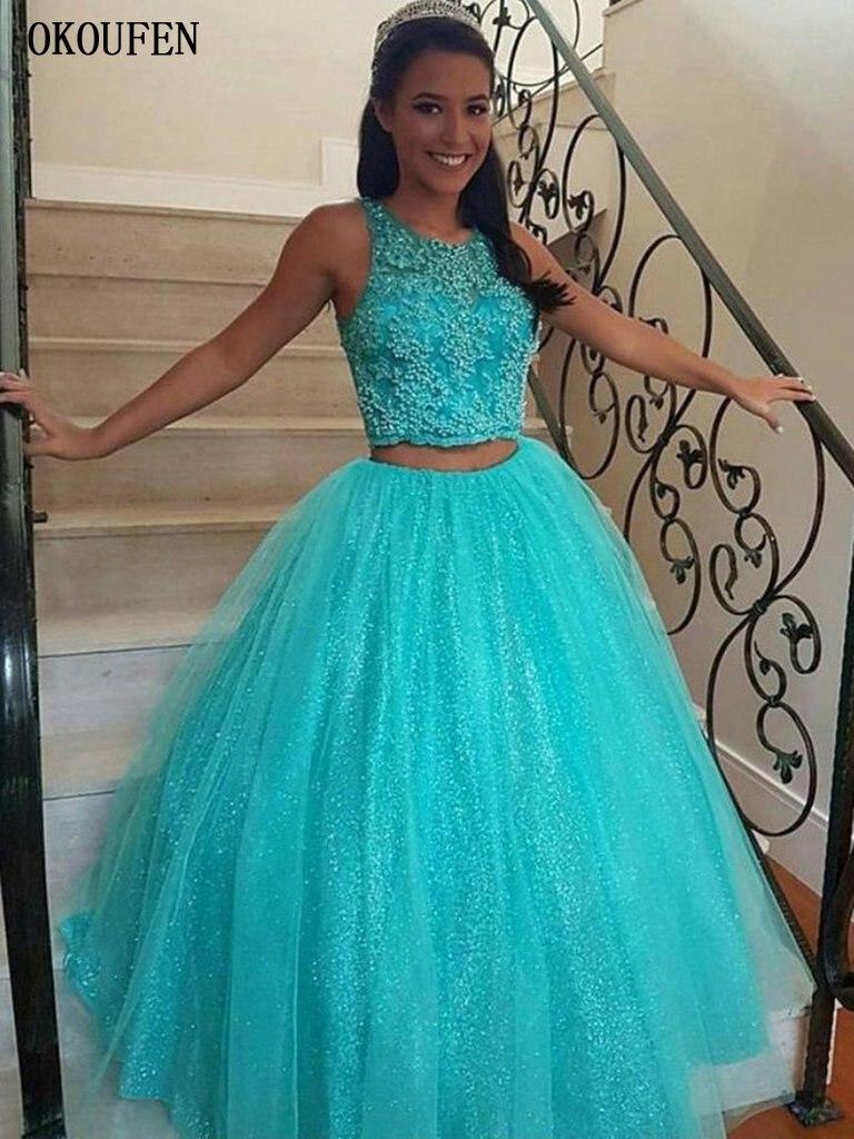 Sky Blue   Prom     Dresses   2019 Two Pieces Ball Gown Beadings Sequins Halter vestidos de fiesta largos elegantes Formal graduacion