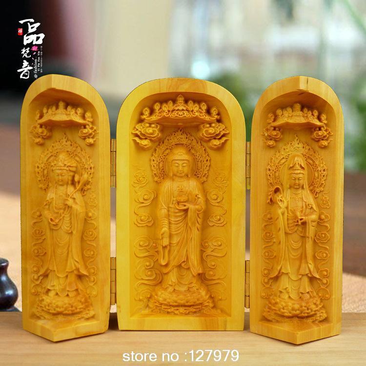 Sculptures en buis, sculptures en bois, statues, déesse de la miséricorde, trinité occidentale, fournitures bouddhistes, bouddha, livraison gratuite!
