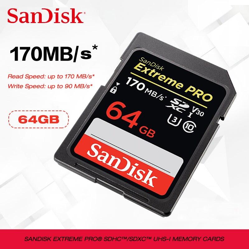 Nouvelle carte SD SanDisk 128g 256g SDXC/SDHC jusqu'à 170 mo/s carte sd 64 go 32 go C10 U3 V30 UHS-I carte Flash cartao de mémoire pour appareil photo