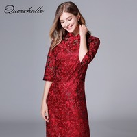 Queechalle Red Traditional Chinese Dress Slim Cheongsam Autumn Half Sleeve Lace Wedding Party Dresses Female Plus Size Vestidos