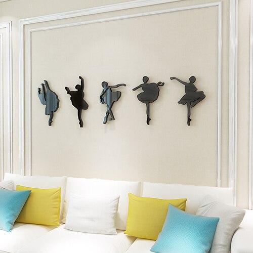 Filles Ballet en forme d'autocollants muraux décor à la maison salle de danse salle de musique acrylique décoratif