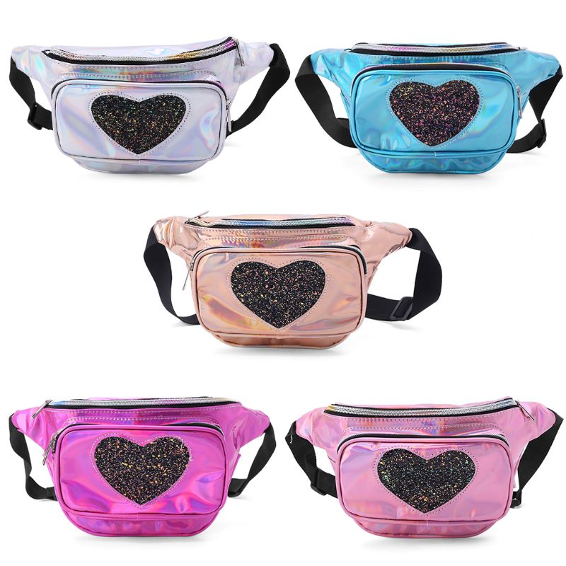 Fashion Holographic Fanny Hip Pouch Iridescent Waist Bag Heart Sequin Bum With Adjustable Belt