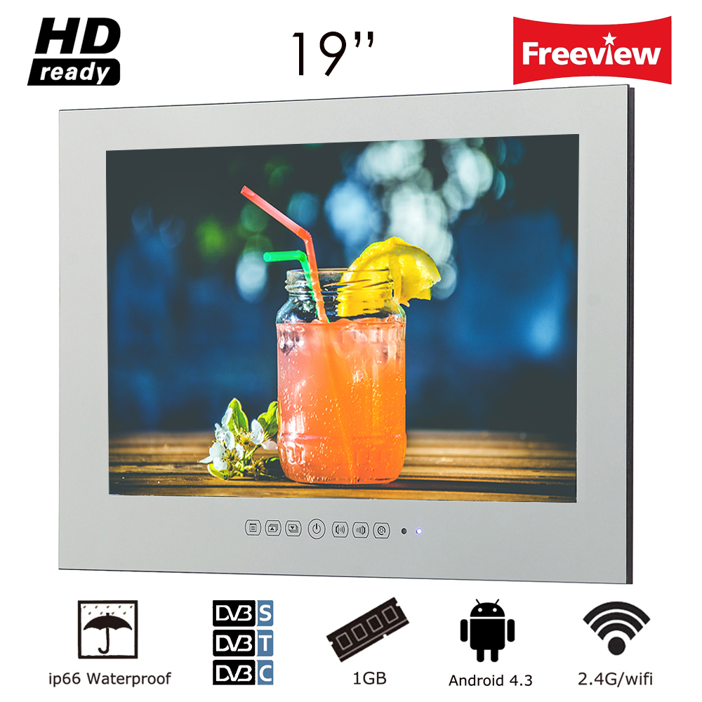 Souria 19 inch WiFi HD Smart Waterproof Android Internet LED TV Bathroom High-End Mirror TV Frameless Wall Mount