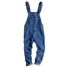 Japanese Retro Washed Denim Striped Bib Spring and Autumn Korean Men/Women Siamese Suspenders jeans Size S-XXL Christmas deals