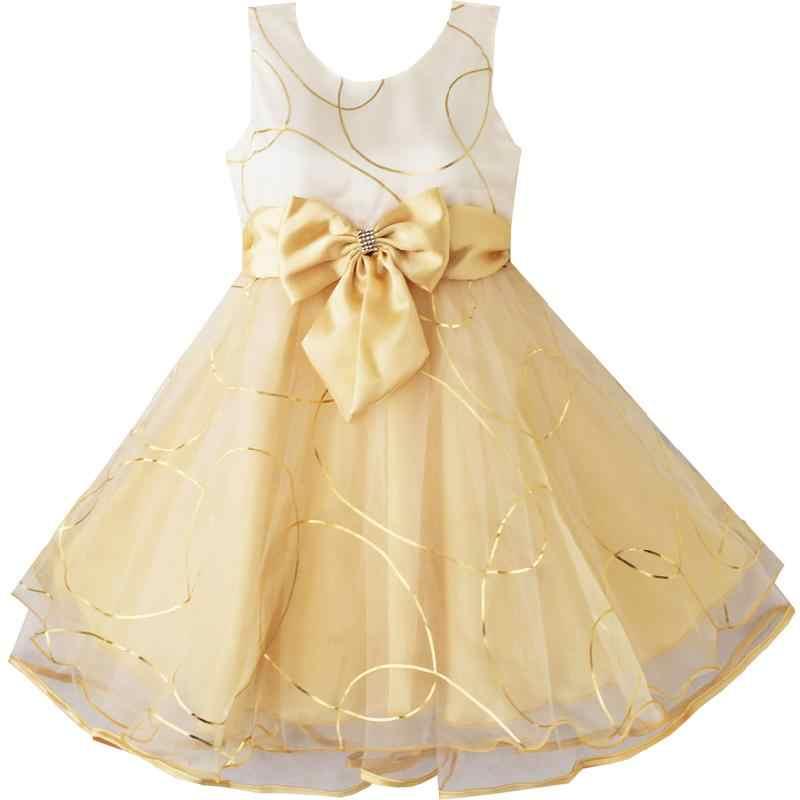 Sunny Fashion Kız Çocuk Elbise Çiçek Papyon Şampanya Düğün Pageant
