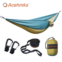 Acehmks Aluminum Alloy Snap Camping Hammock Swings 270CM 140CM Single Outdoor Portable Ultralight Parachute Nylon Hammock