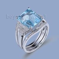 Винтаж набор колец Голубой топаз Обручение кольца с бриллиантами в 14Kt белого золота украшения с синими топазами R00322