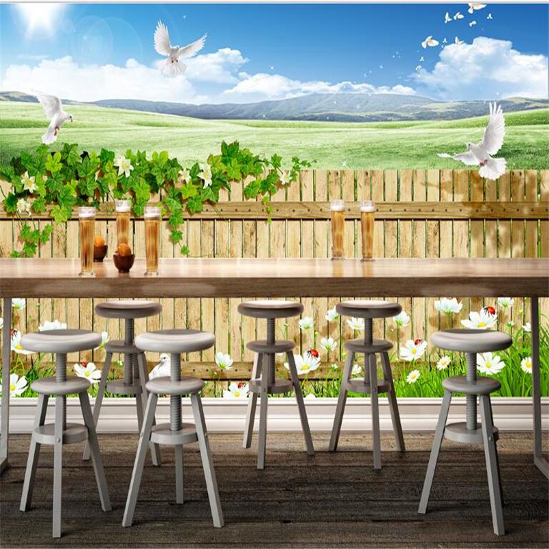 Beibehang Kundenspezifisches Foto Tapeten Wandbilder Sticker Landschaft Natrliche Zaun Restaurant Bar Zurck 3d