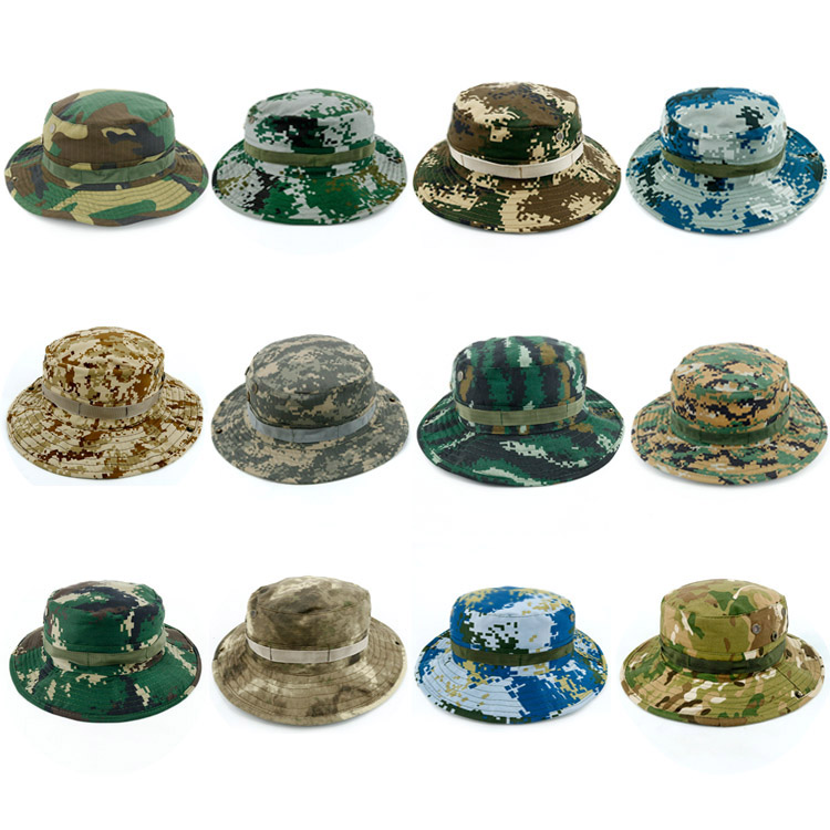 Bonnie Hats Military Panama Safari Sun Hats Hunting Hats Army Caps Summer Bucket Camouflage Hat Travel Headgear Tourism Cap