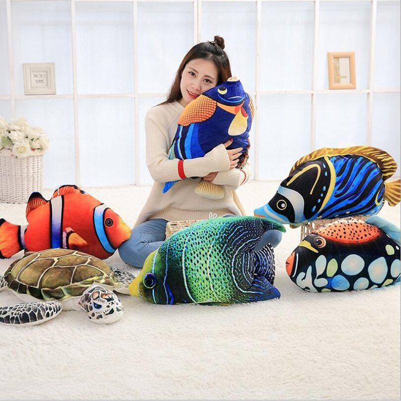 3D Creative Simulation Ocean Animal Fish Plush Toys Stuffed Doll Toy Soft Pillow Children Birthday Gifts
