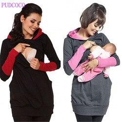 fashion Women Clothing Breastfeeding Hoodie Tops Pregnant Women Stripe Nursing Top Maternity Shirts Jumper Clothes