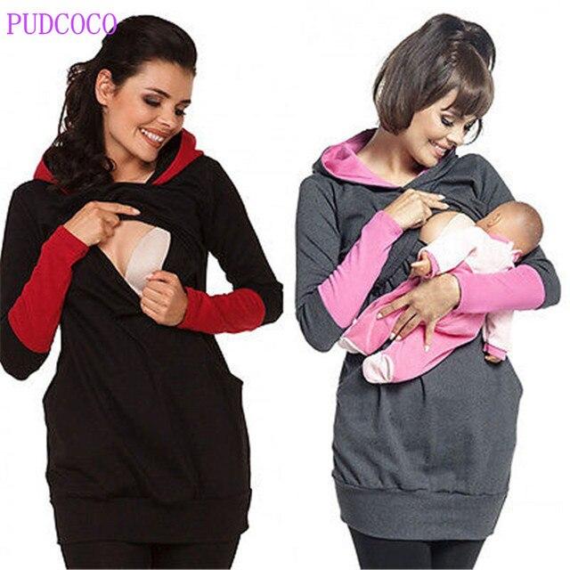 09617ddf7ef66 fashion Women Clothing Breastfeeding Hoodie Tops Pregnant Women Stripe  Nursing Top Maternity Shirts Jumper Clothes