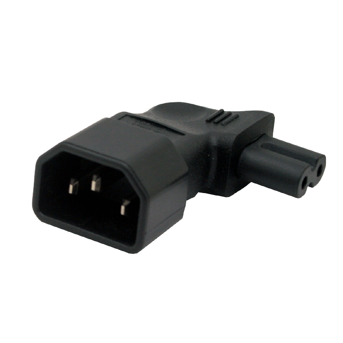 IEC 320 C14 to C7 Right angle Plug adapter IEC C7 to C14 3pin male to 2pin female changer adapter european iec320 c7 female to c8 male plug extension cord iec 320 c7 c8 extension cords 8 male to female power line 5m 5 pcs