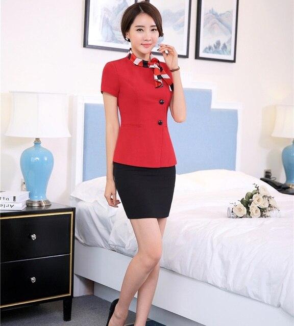 f0e1610501cb Mode Mince Travail Féminin Costumes Vestes Et Jupe D été Professionnel OL  Styles Dames Bureau