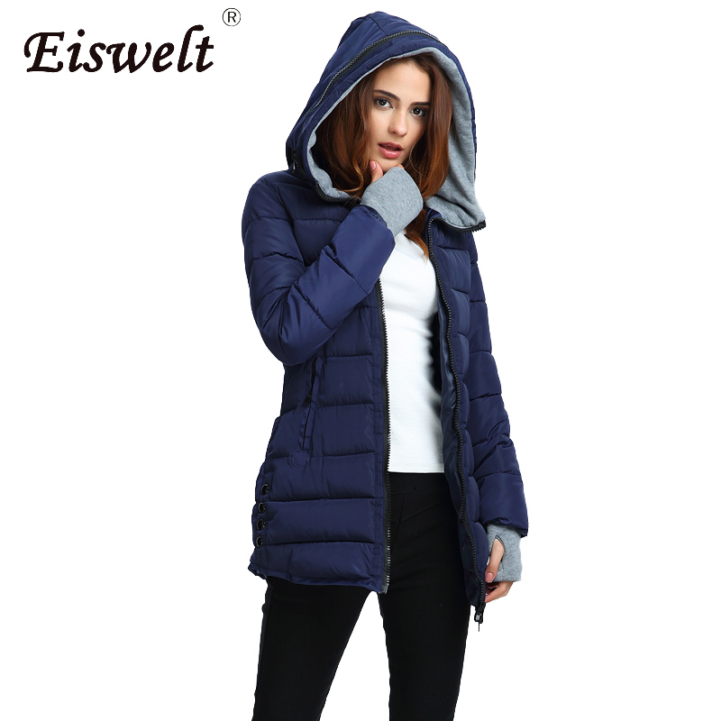 Eiswelt Plus Size  Women Hooded Padded  Basic Jacket Winter coat Medium Long Cotton Coat  Wadded Jacket Slim Women Winter Jacket