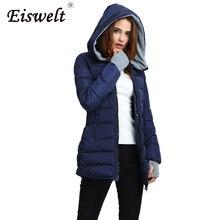 Eiswelt Plus Size  Women Hooded Padded  Basic Jacket Winter coat Medium Long Cotton Coat  Wadded Jacket Slim Women Winter Jacket