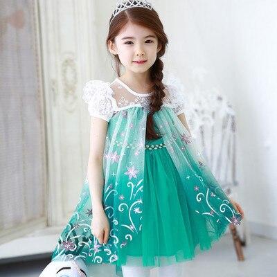 Obleka za dekleta 2019 Poletna čipka Temperament Elsa Princesa - Otroška oblačila