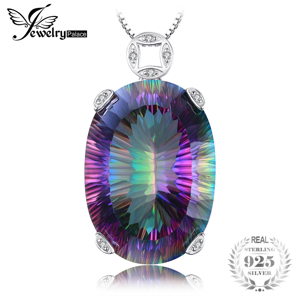 JewelryPalace Huge 42ct Concave Rainbow Fire Mystic Topazs Pendant Solid 925 Sterling Silver Necklace Pendant Vintage Jewelry