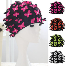 Swim Cap Women Stylish Retro Swimming Cap with Butterflies Pearls Decor for Long Hair Ladies Keep Hair Dry цены