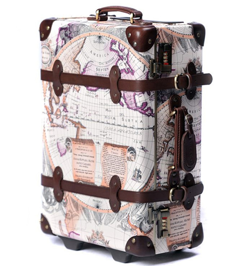 DANXILONG Brown map Fashion High Quality Rolling Luggage On Wheels Women Vintage Trolley Suitcase 20 24