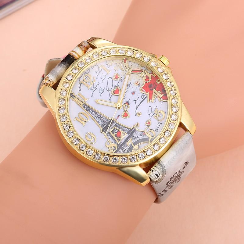 Najlepsza oferta Zegarek kwarcowy Kobiety Moda Wieża wzór Diament - Zegarki damskie - Zdjęcie 3