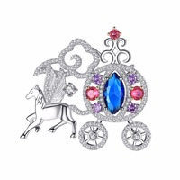 Animal Horse Large Rhinestone Crystal Collar Pins And Brooches For Women Suit Men Luxury Clothes Lapel