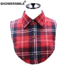купить SHOWERSMILE Plaid Fake Collar Women Red Detachable Collar Ladies Cotton British Style Vintage Casual Female Shirt Fake Collar дешево