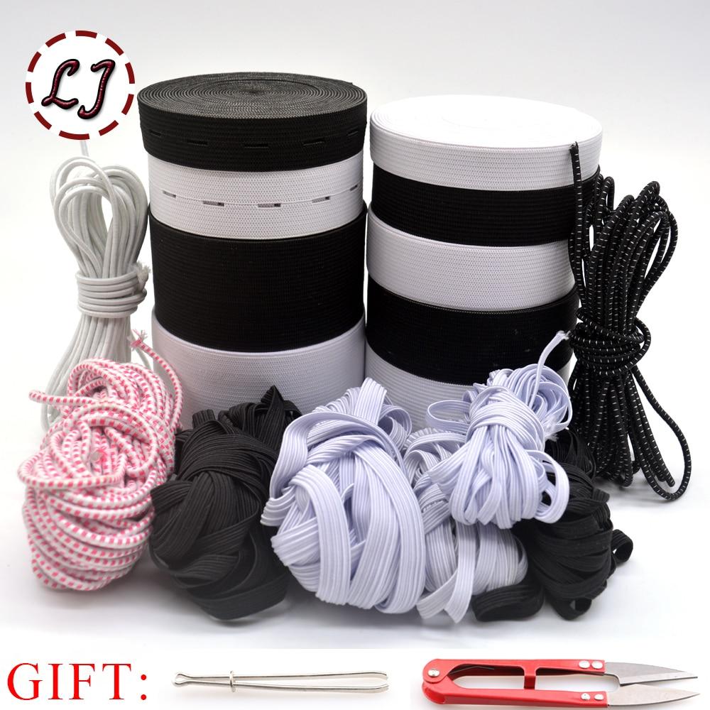 1 paket siyah beyaz 8 iplik yüksek kaliteli elastik bant dokuma şerit giysi giysi bandı pantolon dikiş aksesuarları DIY