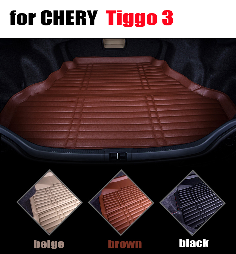 Trunk mats for Chery Tiggo 3 2014-2016 car cargo trunk floor mat liner all weather leather waterproof carpets auto mats car rear trunk security shield cargo cover for volkswagen vw tiguan 2016 2017 2018 high qualit black beige auto accessories