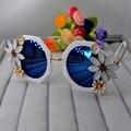 Новая мода В Стиле Барокко старинные роскошные женщины солнцезащитные очки на открытом воздухе пляж кристалл подсолнечника синий солнцезащитные очки оптовая девушка ювелирные изделия