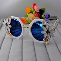 New fashion Baroque vintage luxury women sunglasses outdoor beach crystal sunflower blue sun glasses wholesale girl jewelry