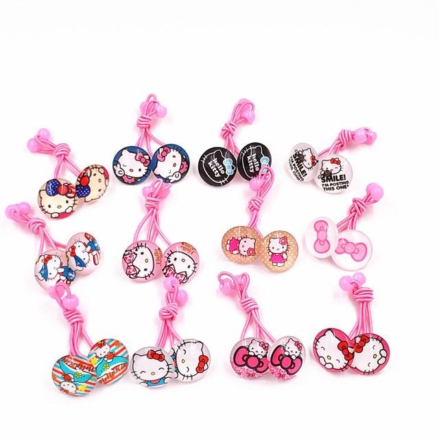 257d40ac9 1Pairs Girls Cute Hello Kitty Elastic HairBands Tie Rim Hair Rubber Band  Gum For Hair Kids