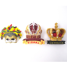 Denmark Austria Vienna Crown Fridge Magnet Annual Festival Carnival of USA New Orleans Souvenir 3D Mask Magnetic Sticker Decor