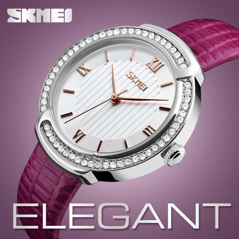 SKMEI Women Watches Fashion Casual Clocks Girl Quartz Wristwatches Ladies Watch Leather Strap Waterproof Relogio Feminino 9143 купить