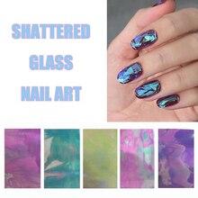 1pcs Shattered Glass Nail Art Mirror Foil Nail Art Paper Sticker DIY Nail Beauty Decoration Tools
