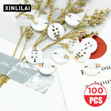 11.5MM 100pcs Resin Buttons Round Four Holes White Windbreaker/ Coat DIY Print Letter Clothing Accessories
