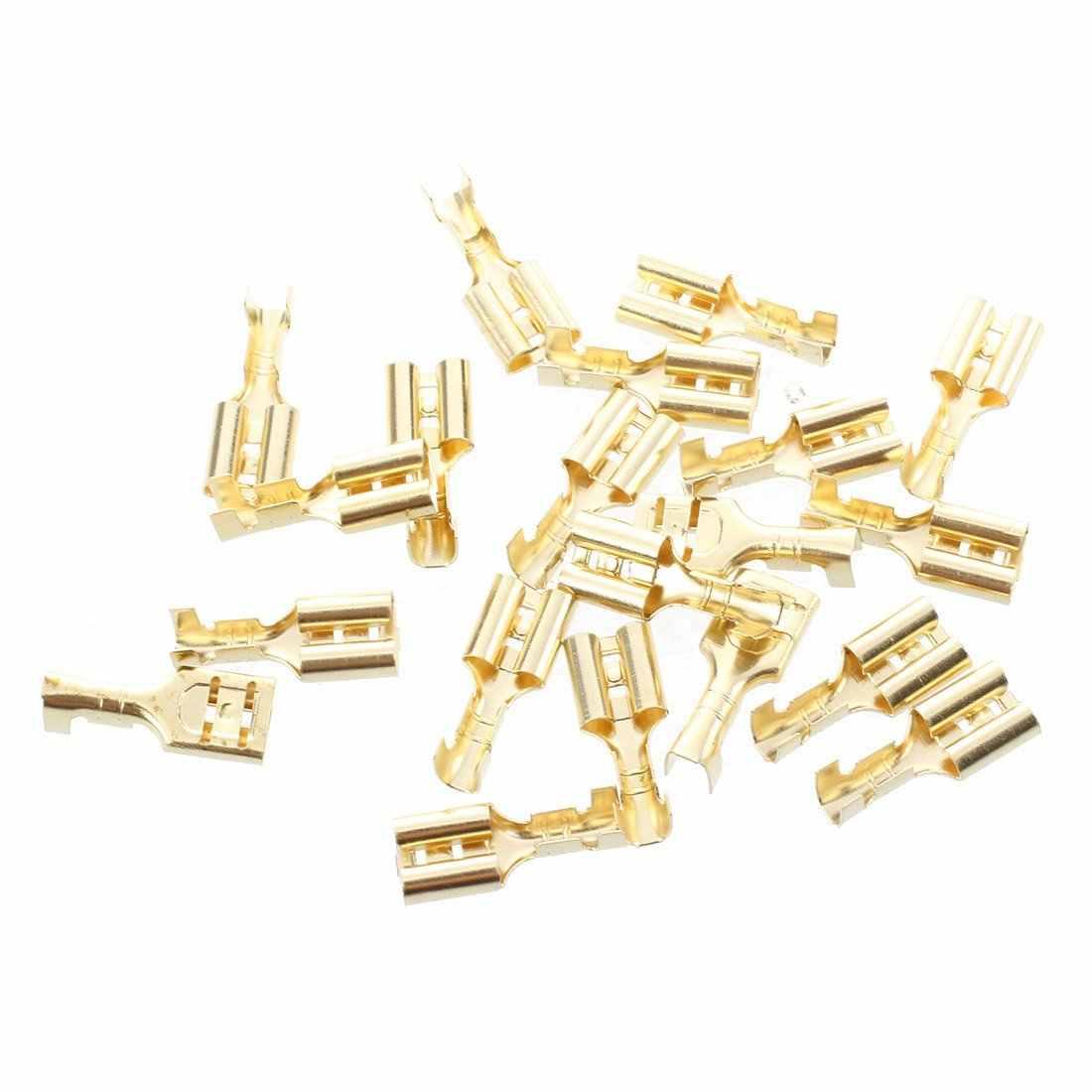 20 pièces borne à sertir en laiton doré 6.7mm connecteurs femelles