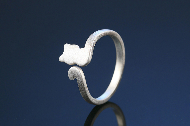 925 Sterling Silver Cat Shaped Adjustable Ring