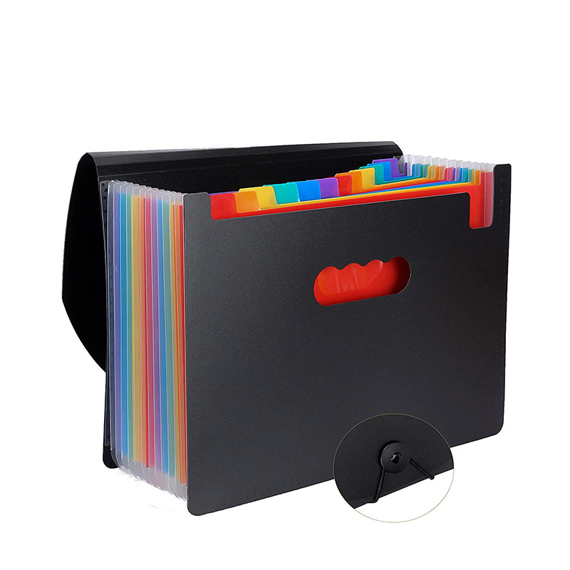 12 Pockets Expanding File Folder A4 Letter Size Portable Document Holder Black Filing Folder Desk Storage Accordion File Product