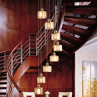 Custom creative restaurant villa duplex stairwell long personality new Chinese copper lamps Pendant Lights WF4281408