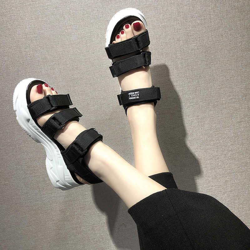 TUINANLE/женские сандалии-гладиаторы на платформе; Коллекция 2020 года; Сезон лето; Модные женские пляжные сандалии-столбики; Удобные джинсовые сандалии; Sandalias Mujer