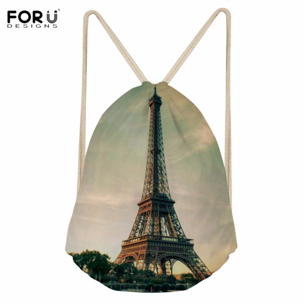 3fd210b915 FORUDESIGNS Womens Sport Bag Drawstring Backpack Eiffel Tower 3D Printing Sports  Bags for Fitness Gym Sack Yoga Storage Bags New