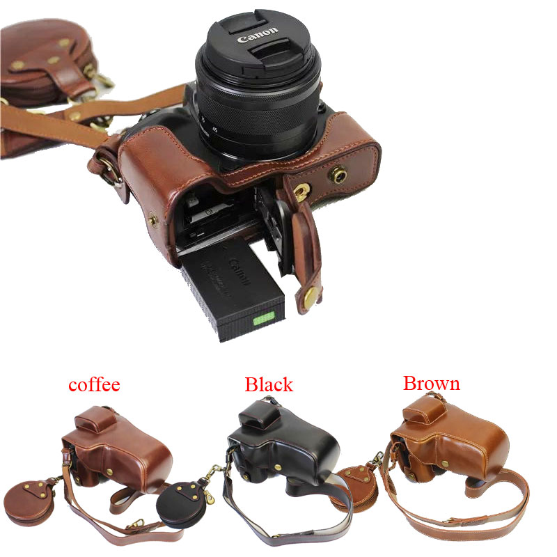 New Luxury Pu Leather Camera Case Bag For <font><b>Canon</b></font> EOS M5 EOSM5 <font><b>55</b></font>-200mm <font><b>18</b></font>-150mm Lens With Strap +Mini Pouch +Open Battery Design image