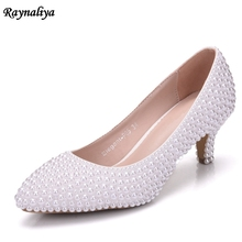 White Pearl Wedding Bridal Women Shoes Elegant 5CM Heels Evening Party Shoes High Heel Beading Dress Pumps Big Size XY-A0009 2018 classic wedding dress shoes white pearl bride shoes party high heels 5 inches heel top grade leather pumps rhinestone