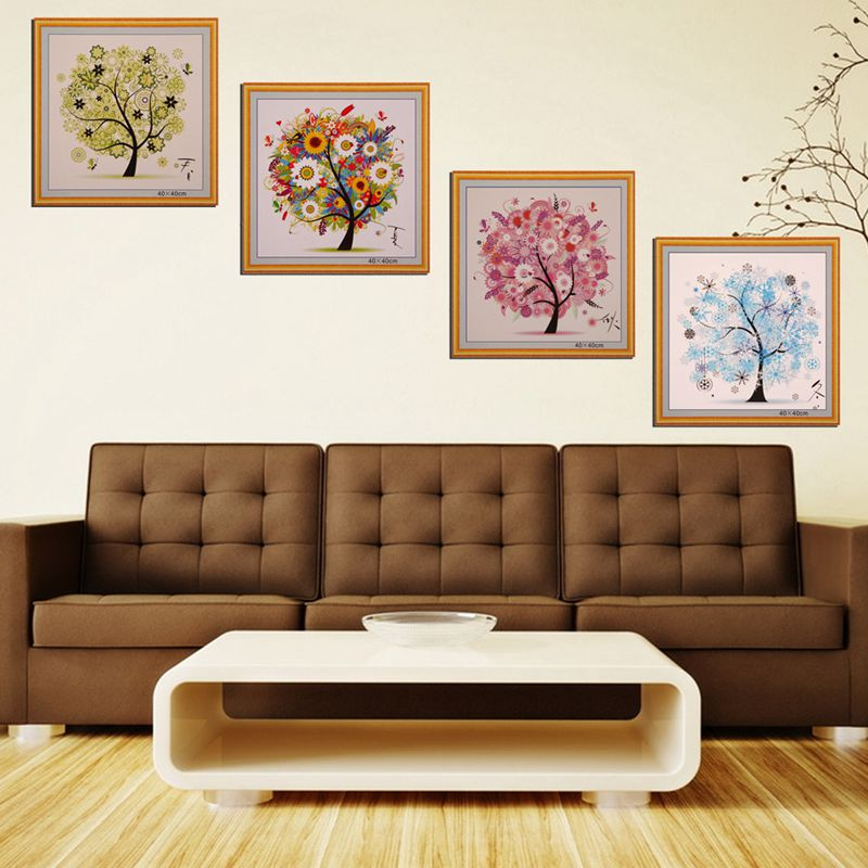 Diy Colorful Rooms: Four Seasons Tree DIY Colorful Tree Counted Cross Stitch