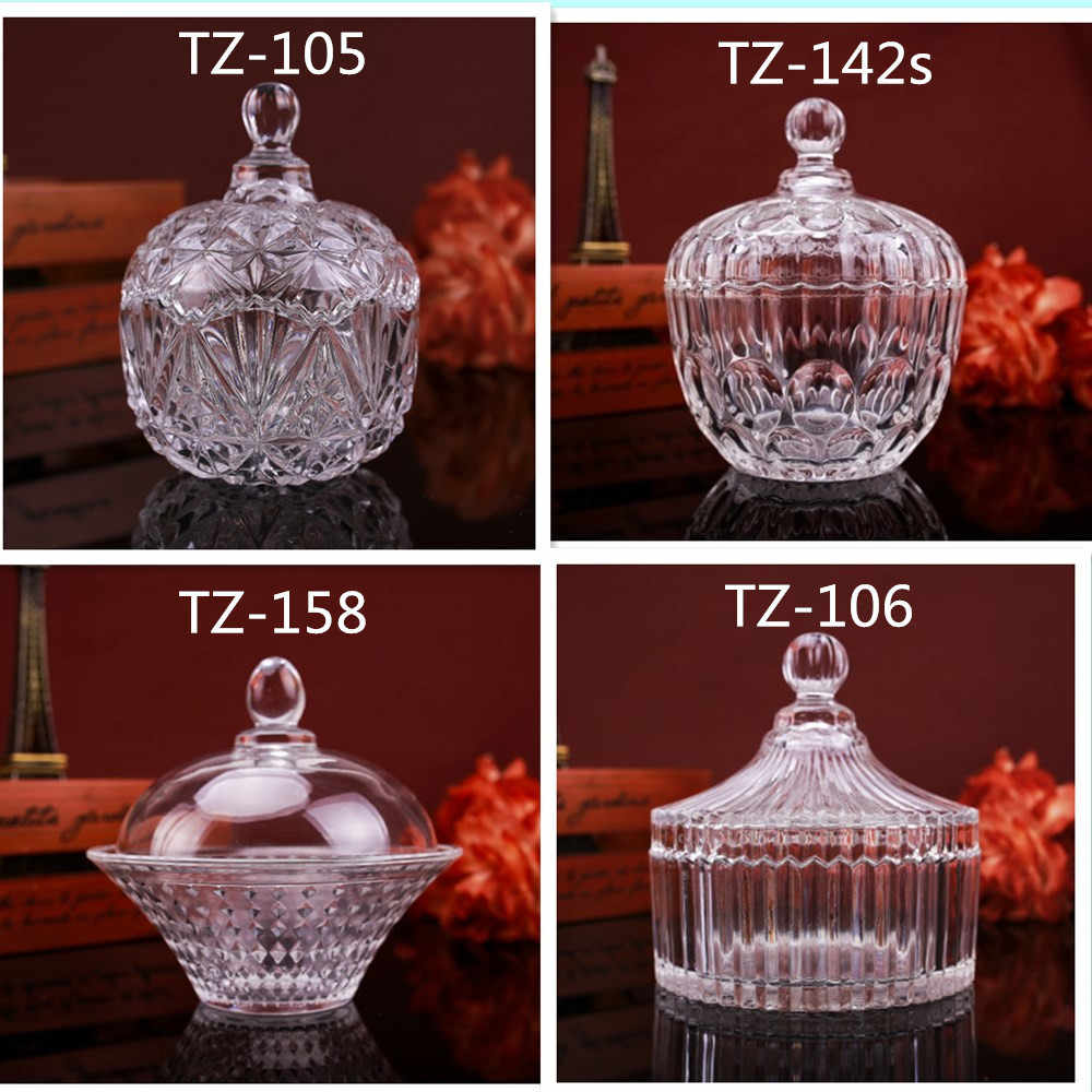 European Style Candle Hodler Special Glassware Crystal Glass Candy Cup Transparent Candy Cans  Candles Making Supplies