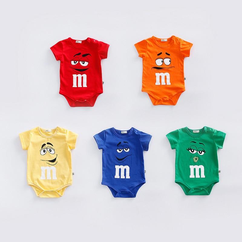 Neonato pagliaccetti del bambino del cotone di Estate manica corta molle infantile vestiti del bambino bebe roupas M cioccolato candy tute costume